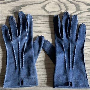 Vintage navy blue nylon wrist length gloves